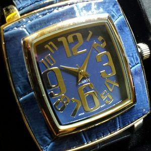 Avon Square Croc Strap Watch Blue